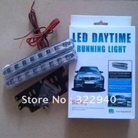Free shipping 2pcs Car Head Lamp 8 LED Universal Car Light DRL Super White Daytime Running Light