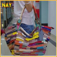 2 Colors !! genuine leather handbags free shipping suede patchwork color block Hand bag shoulder cross-body bag