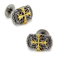 Platinum Plated  Double cross Cufflinks men's Cuff Links + Free Shipping !!! gift metal buttons