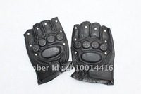 WHOLESALE FASHION MEN'S   BLACK SHEEPSKIN LEATHER GLOVES  RIDING SPORT HALF FINGER GLOVE