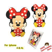 3D Mickey Minnie Stitch Kitty Cat Pink Rose Bowknot Cute Cartoon Silicon e Soft Cover Back Case For iphone 4 4G 4S