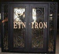 Wrought iron custom front door with sidelight---ETN DSD-072
