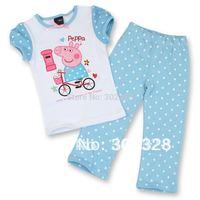 2014 Next Peppa Pig Pajamas For Girls Pyjama Suit Baby Autumn Clothes Peppa pig Clothing Sets Polka dot Kids Sleepwear Pijama