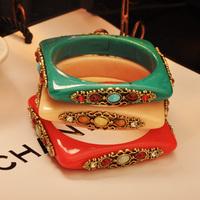 Mini Order $15 !!! Fashion Vintage All-match Square Carved Beaded Bracelet Mix Colors! Hip Hop Street style Mashup Bracelet