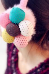 2014 winter Fashion Rack Winter Warm Earmuffs flowers  Plush For Women Children headband ear warmer  kc,Free shipping over $15
