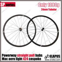 1080g/pair Straight pull  700c carbon tubular wheel 24mm