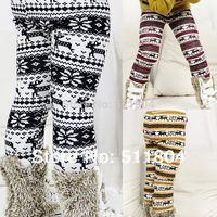 Baby Reindeer Fleece Leggings, Girls Deer Pattern Skinny Boot Cuts Pants Spring Autumn Winter Cartoon Thick Warm Casual Trousers