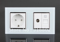 EU Standard Power Sockets with TV and TEL Outlet, White Crystal Glass Socket Panel, 16A Home Wall Double Sockets, ZQ-01EU/02TV-W