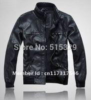 0503 NWT Mens Casual TOP PU leather Zip Jacket Coat Black Size THOOO brand