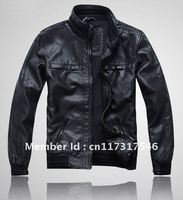 0503 NWT Mens Casual TOP PU leather Zip Jacket Coat Black Size THOOO brand