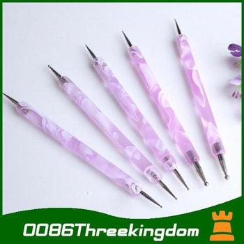 5pcs 2way Elegant purple Marbleizing  pen-holder DIY Nail Art tool DOTTING Paint Pen MJ0002