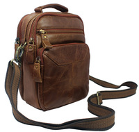 Free ship 4use Men & Women's tote brown Full Grain Real leather Genuine Leather Fanny Waist pack Shoulder Bag Messenger Bag