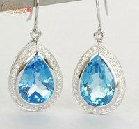 SOLID 14K WHITE GOLD NATURA DIAMOND & FLAWLESS BLUE TOPAZ ENGAGEMENT EARRINGS