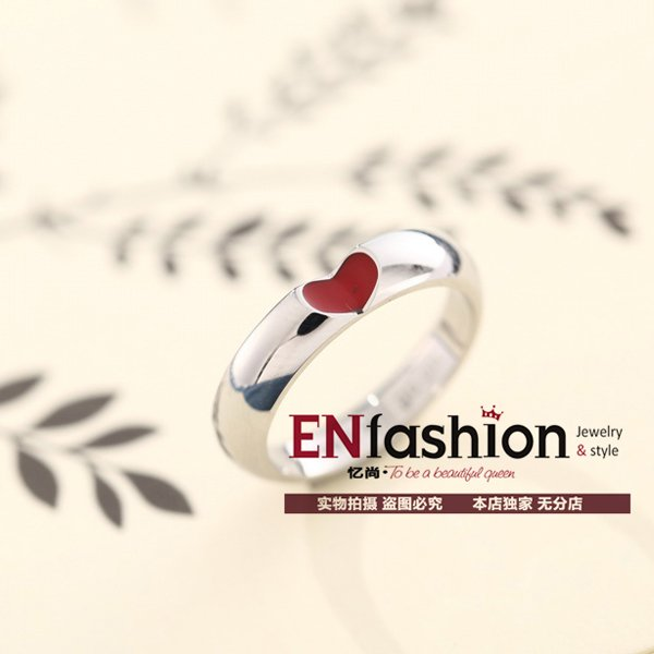 Fashion red heart ring love finger couple rings silver rings for women and men wedding ring