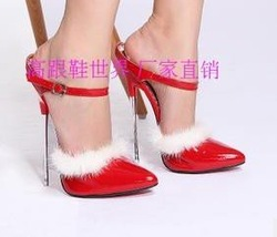 Free shipping wholesale and retail new red sexy 16 cm high heels cowhide high-heeled shoes sable hair decoration highheels 527(China (Mainland))