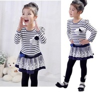 Wholesale autumn 5pcs baby girl striped children lace dress chest with flowers baby dress,tutu dress