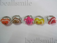 Wholesale 20pcs Children new fashion  jewelry cute rings child/baby/kid's gift mixed style &color size adjustable