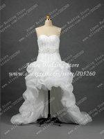 2013 Hot Sale Sweetheart Organza Short Front Long Back Wedding Dress  Free Shipping RA255