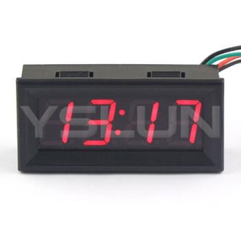 100 PCS/LOT Digital Clock DC 12V 24V Red LED Electronic Clock Car Motorcycle Digital Clock 24 Hour Time Mode