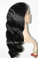 "black wavy full lace wigs hidden knots 14""/16""/18"" 100% Indian remy hair 1# body wave lace wigs Large silk top cap free shipping"