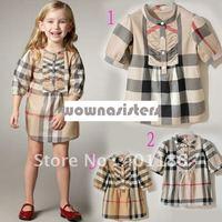 kd54 Plaid summer London girls kids shirt dress lattice new 3 year to 6 years old 3T 6t