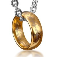 Bahamut Lord of The Rings Tungsten Ring Pendant Free With  Titanium Steel Chain Men's Jewelry