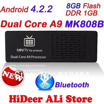 MK808B Bluetooth Dual Core Android4.2.2 Jelly Bean TV BOX Rockchip RK3066 Cortex-A9 Mini PC stick  MK808B Media Player