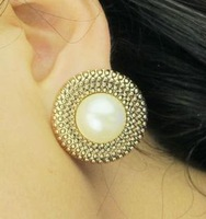 ES004  vintage gold and  big pearl 2013 fashion stud earrings for women wholesale charms TA-3.99