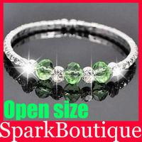 Crystal Rhinestone Bracelet Single Row Cuff Bracelet Crystal Beads Bracelet Free Shipping 12pcs/lot
