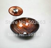 Fashion  Hand Paint Vessel Washbasin Tempered Glass Sink  &  Brass  Tap  Set  XL 8001