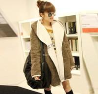 Women Fashion New Casual Hooded Warm Fluffy Overcoat Coat  Hoodie Jacket Outwear free shipping 7895