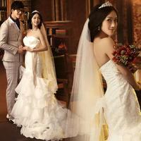 freeshipping Royal princess luxury lace fish tail train bow tube mermaid wedding dress vestido de noiva 2014.zkc uncle.2822