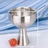 Hot sell 4pcs/lot Stainless steel ice-cream cup-double wall-grace design