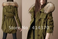 new lambs wool big collar army green big cotton-padded jacket pocket cotton-padded clothes coat thick jacket