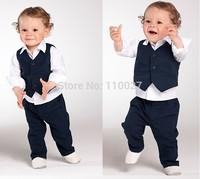 baby boy 3pcs party suits kids cool clothing sets white blouse + stripe vest + pants 5pcs/lot children clothes European fashion