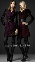 New Fashion slim Fox Wool trench coat,women's overcoat,outerwear ,cashmere Overc Free shipping