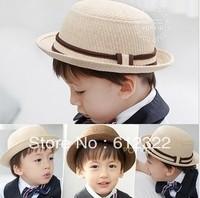 children straw hat baby summer sun cap kids Upturn bucket hat boys and girls straw fedoras headwear 10pcs/lot free shipping