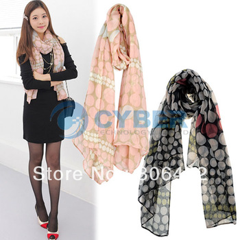 Holiday Sale New Fashion Women's Ladies Polka Dots Prints Scarf Shawls Size 185 X 80cm Free Shipping 7783