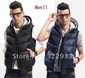 free shipping New vest Men's down jacket vest casual slim double hoodies collar winter outdoor fake 2 piece waistcoat L-4XL