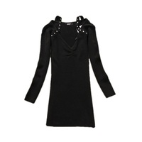 Free shipping!/ 2014 New women fashion V-neck Slim  knitted sweater with rhinestones