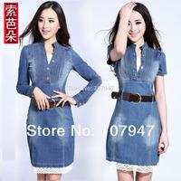 Free shipping 2015 new arrival vintage denim dress fashion long-sleeve brief dress lace patchwork plus size dress