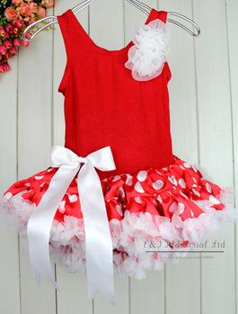 Christmas Girl Petti Dress Red Dot Lace Princess Dress 5PCS/LOT  Novely Children's Clothing TD21013-06^^EI