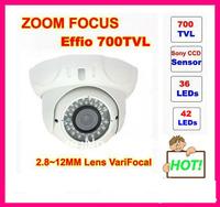 "!!!Genuine 1/3"" Sony Effio-e 700tvl 42leds,2.8~12mm varifocal lens , metal indoor/ outdoor dome CCTV Camera   free shipping"