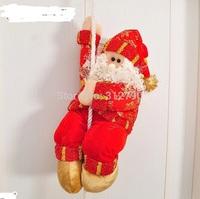 Free shpping Wholesale New2014 Christmas git santa claus dolls with ladder Xmas gift santa plush toys