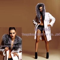 BG22233-2 Stylish Genuine Sheared Rex Rabbit Fur Coats  Wholesale Highly Similar To Mink Fur Coat