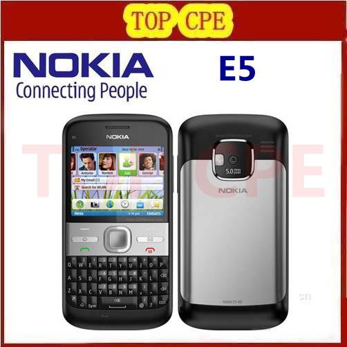 original Refurbished NOKIA E5 cell phones unlocked brand nokia E5 3G 5MP camera mobile phones bluetooth mp3 player(China (Mainland))