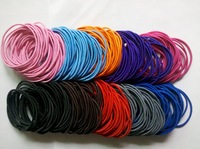 Free shipping 400pcs mixed Wholesale colourful Hair Elastic Ties Ponytail Holder ponies scrunchies thin hair band