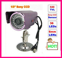 Wholesale Free shipping Weatherproof 1/3 Sony CCD Surveillance Camera with 36 leds 30 meters View Distance