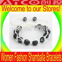 Wholesale New High Quality Fashion Micro Pave CZ Disco 10MM Ball Bead Clay Black Charms Women Shamballa Bracelets Free shipping