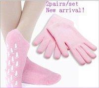 2pairs Moisturize Soften Repair Whiten Skin Moisturizing Treatment Gel SPA gloves socks Skin care best gift Free Shipping